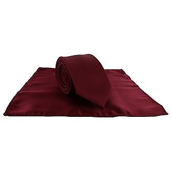 Michelsons Londyn Silm satyna poliestrowa placu kieszeni i komplet krawat - ciemny czerwony