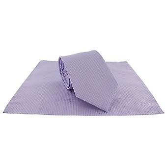 Michelsons of London Semi Plain Tie and Pocket Square Set - Lilac