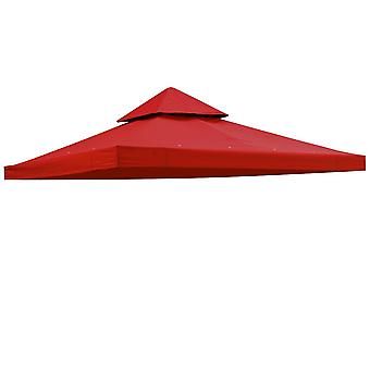 "Yescom 117""x117"" Canopy Top Replacement Y00397T02 Red for Smaller 10'x10' Dual-Tier Gazebo Cover Patio Garden Outdoor"