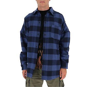 Palm Angels Pmga024e20fab0024510 Men's Chemise en coton bleu/noir