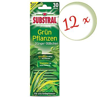 Sparset: 12 x SUBSTRAL® fertilizer rods for green plants, 30 pieces