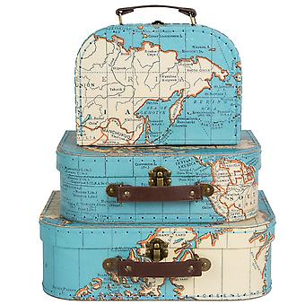 Sass & Belle Set Of 3 Vintage Map Suitcases