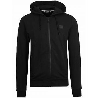Antony Morato Black Plaque Logo Zipped Hooded Sweatshirt