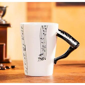 Kreativ musikk fiolin stil gitar keramisk krus kaffe, te, melk stave kopper