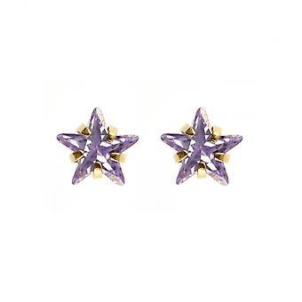 Eternity 9ct Gold Kids Purple Cubic Zirconia Star Stud Boucles d'oreilles
