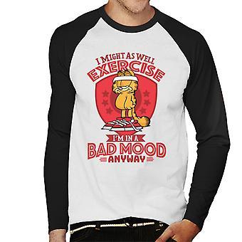 Garfield Bad Mood Equals Exercise Men's Baseball Long Sleeved T-Shirt