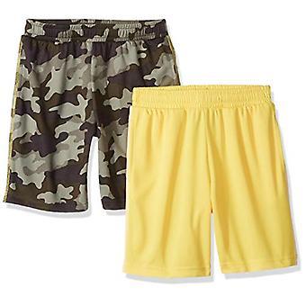 Essentials Big Boys' 2-Pack Mesh Short, Camo/Yellow, M (8)
