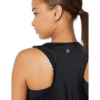 Core 10 Women-apos;s Standard Icon Series 'Ruffle' Cropped Sleeveless Yoga Tank, B...