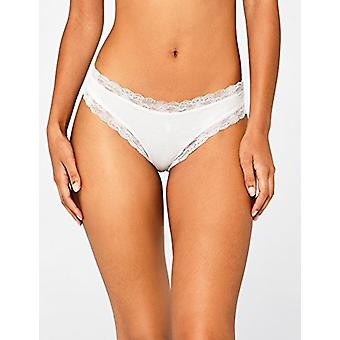 Iris & Lilly Women's Cotton Thong with Lace,  Pack of 3,  White, S (US 4-6)