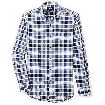 BUTTONED DOWN Men's Classic Fit Spread-Collar Casual Linnen katoenen shirt, donker...