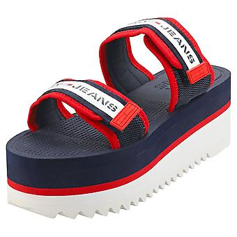 Tommy Jeans Chunky Tape Womens Flatform Sandals in Navy Red White