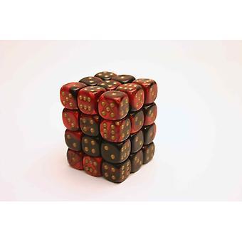 Chessex Gemini 12mm D6 Block - Black-Red/gold