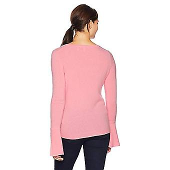 Lark & Ro Women's Sweaters Crewneck Cashmere Sweater with Flute Sleeves, Ligh...