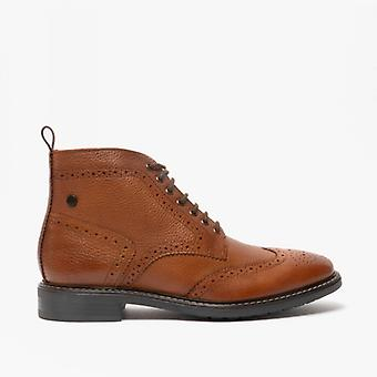 Base London Berkley Mens Leather Brogue Boots Tan
