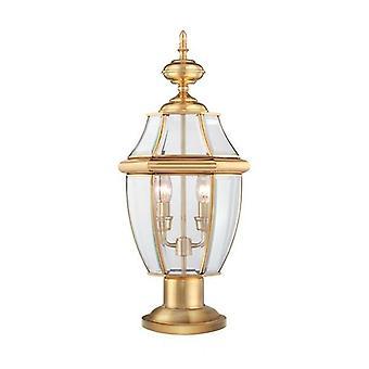 2 Light Outdoor Pedestal Light Polished Brass IP44, E14