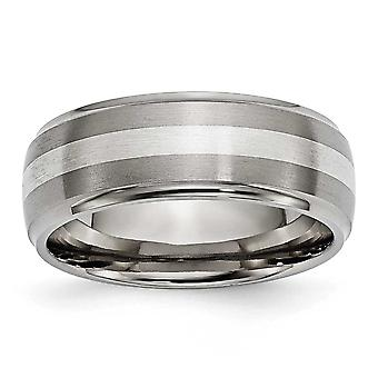 Titanium 925 Sterling Silver Brushed Polished Engravable Inlay 8mm Brush/Polish Band Jewelry Gifts for Women - Ring Size