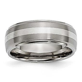 טיטניום 925 כסף מוברש מלוטש שיבוץ מברשת 8 מ מ הלהקה תכשיטים מתנות לנשים-גודל טבעת