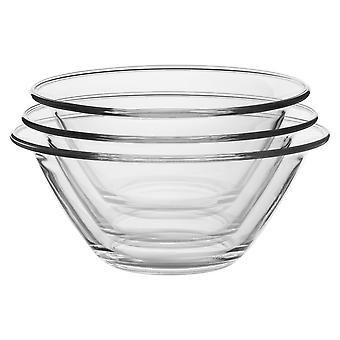 Bormioli Rocco 3pc Mr Chef Glass Nisting Mixing Bowl Set - Heavy Duty, Lave-vaisselle et micro-ondes - 3 tailles