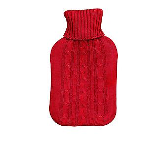 Full Size Hot Water Bottle With Knitted Cover - Dark Red