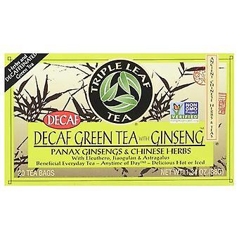 Kolmen lehden tee kofeiiniton vihreä tee Ginsengin kanssa, 20 pussia