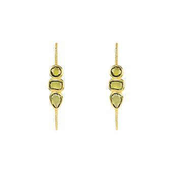 Gemstone Hoop Earring Gold Peridot Light Green Stud Statement Geometric Gift 925