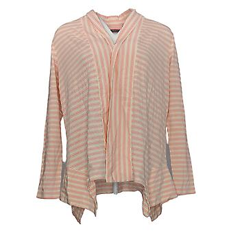 Anybody Women's Top Cozy Knit Striped Cardigan Pink A353787
