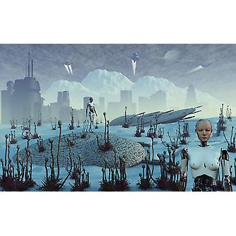 An Earth colony on an alien moon that is forever frozen but rich in mineral deposits Especially adapted androids are used to do all manual labor both above and below the moons surface Poster Print