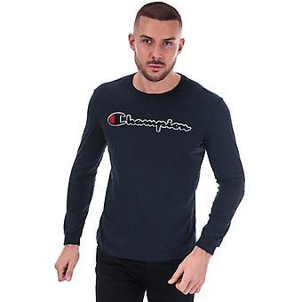 Heren's Kampioen Groot Logo Lange Sleeve T-shirt in blauw