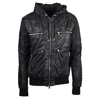 Balmain Hooded Zip Biker Black Camo Jacket