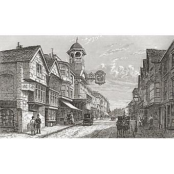 High Street Guildford Surrey England In The Late 19Th Century From Our Own Country Published 1898 PosterPrint