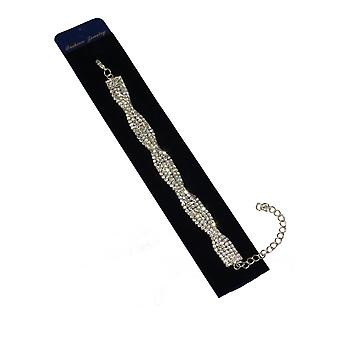 Ladies Twisted Crystal Diamante Bracelet Adjustable Party Evening Special Occasion