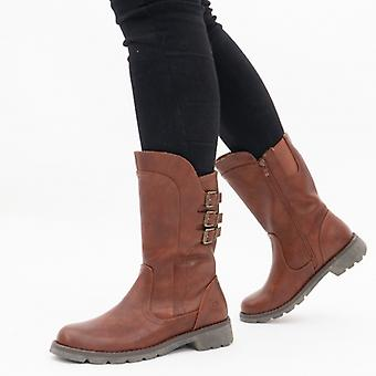 Heavenly Feet Melody Ladies Mid Calf Boots Brown