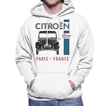 Citroen Musta 2CV Pariisi Ranska Single Stripe Miesten huppari