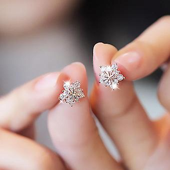 Stud Earring, Trendy Super Shiny Zircon Ice Flower Silver