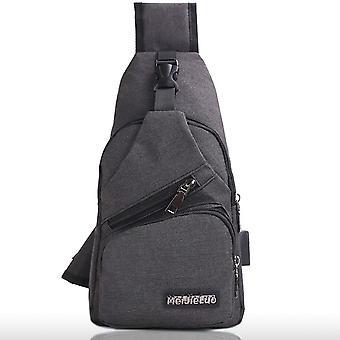 Man Schouder Usb Opladen Crossbody Bag, Anti Theft Chest Bag