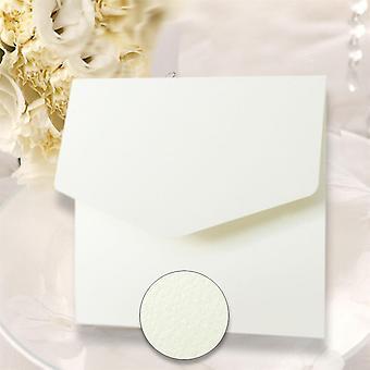 10 convites de bolso quadrados texturizados brancos