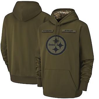 Men's Pittsburgh Steelers Slant Strike Tri-Blend Raglan Pullover Hoodie Top WYG007