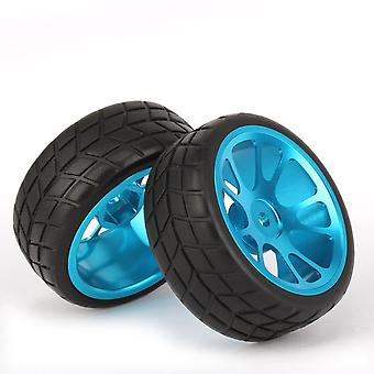 4x RC1:10 On-Road Car 65mm OD Square Pattern Tyre Blue Al. 10-Spoke Wheel Rim