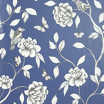 Arthouse Navy Rose Garden Wallpaper Floral Botanic Blue Feature Wall