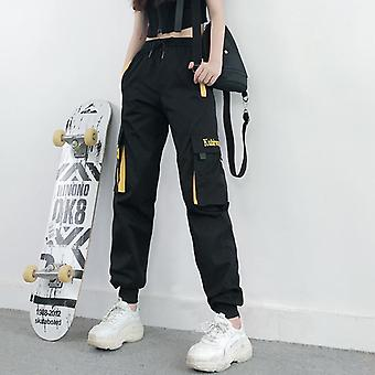 Women Fashion Streetwear Cargo Pants Black Ankle Length Elastic Joggers
