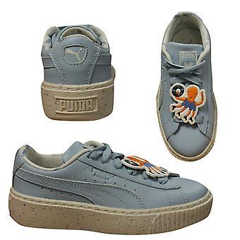 Puma X TC Tiny Cottons Platform Speckle PS Low Kids Trainers Blue 367473 01 B95D