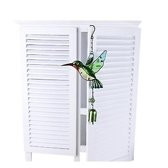 Glass Hummingbird Wind Chimes, Outdoor Windchimes Indoor Stained Glass Wind Chime Metal Window