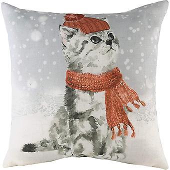 Evans Lichfield Snowy Cat Cushion Cover
