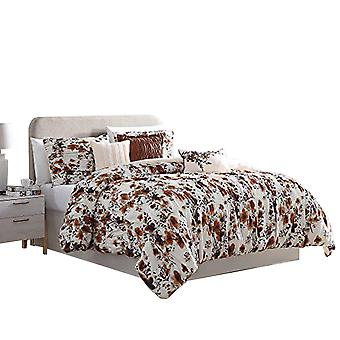 Lyon 6 Piece Floral King Comforter Set With Shirring The Urban Port, Brown And White