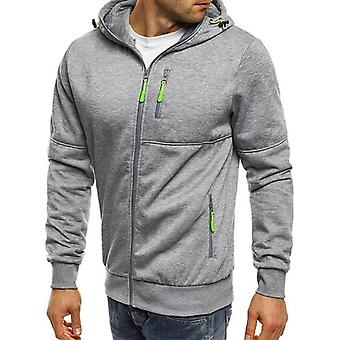 New Hoodies Men Running Jacket Autumn Zipper Solid Cardigan Coat Sport Fitness