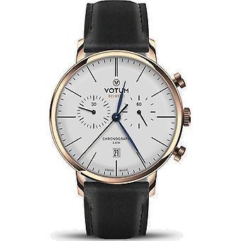 VOTUM - Reloj Unisex - CRONÓGRAFO VINTAGE - VINTAGE - V10.20.11.01 - correa de cuero - negro