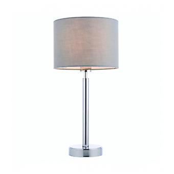 Owen Cylinder Table Lamp In Steel, Chrome Plate And Gray Fabric