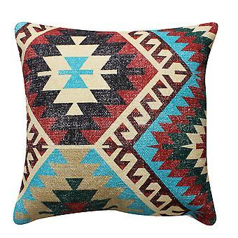 18 X 18 almohada de acento de algodón tejida a mano con estampado tribal, multicolor