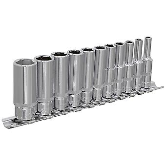 "Sealey AK2671 Socket Set 11pc 1/4""sq Drive 6pt Deep Walldrive Imperial"
