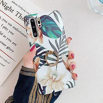 Retro Flower Leaf Case With Ring For Huawei Case Cover